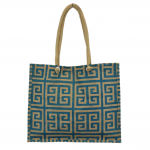 15- BLUE & TAN GREEK KEY JUTE BAG