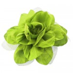 180650-YGN- LIME GREEN COLOR FLOWER BROOCH
