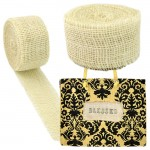 GE-12CRM - CREAM BURLAP JUTE RIBBON - 10 Meters X 2""