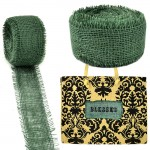 GE-12GRN - DARK GREEN BURLAP JUTE RIBBON - 10 Meters X 2""