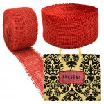 "GE-12RED - RED BURLAP JUTE RIBBON - 10 Meters X 2""*"