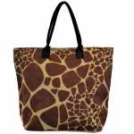 J261BL- GIRAFFE JUTE BAG W/BLACK HANDLE