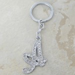 10020-A CLEAR RHINESTONE / INITIAL LETTERS KEY CHAIN