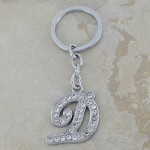 10020-D CLEAR RHINESTONE / INITIAL LETTERS KEY CHAIN