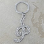 10020-P CLEAR RHINESTONE / INITIAL LETTERS KEY CHAIN