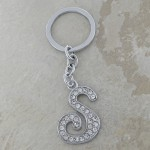 10020-S CLEAR RHINESTONE / INITIAL LETTERS KEY CHAIN