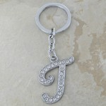 10020-T CLEAR RHINESTONE / INITIAL LETTERS KEY CHAIN