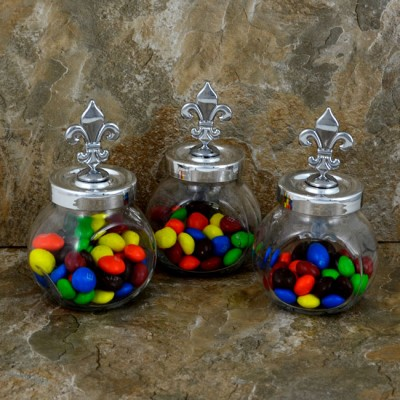 MJ8294FDL-SPICE JAR 3PC. SET W/FLEUR DE LIS TOP