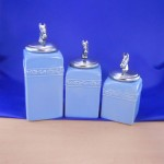 CERAMIC CANISTER SET BLUE W/ HORSE SILVER LIDS