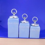 CERAMIC CANISTER SET BLUE W/ RING SILVER LIDS