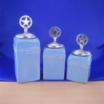CERAMIC CANISTER SET BLUE W/ STAR SILVER LIDS