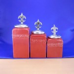 CERAMIC CANISTER SET RED W/ FDL SILVER LIDS