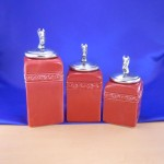 CERAMIC CANISTER SET RED W/ HORSE SILVER LIDS