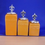 CERAMIC CANISTER SET YELLOW W/ FDL SILVER LIDS