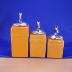 CERAMIC CANISTER SET YELLOW W/ HORSE SILVER LIDS