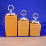 CERAMIC CANISTER SET YELLOW W/ RING SILVER LIDS