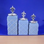 60002BLUE-FDL-SIL CERAMIC CANISTER SET ROPE BLUE W/ FDL SILVER LIDS