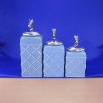 60002BLUE-HORSE-SIL CERAMIC CANISTER SET ROPE BLUE W/ HORSE SILVER LIDS