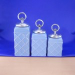 CERAMIC CANISTER SET ROPE BLUE W/ RING SILVER LIDS