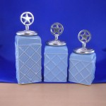 CERAMIC CANISTER SET ROPE BLUE W/ STAR SILVER LIDS