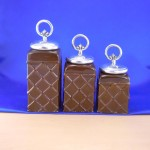 CERAMIC CANISTER SET ROPE RING W/ FDL SILVER LIDS