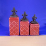 CERAMIC CANISTER SET ROPE RED W/ FDL COPPER LIDS