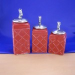 CERAMIC CANISTER SET ROPE RED W/ HORSE SILVER LIDS