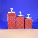 CERAMIC CANISTER SET ROPE RED W/ SILVER PLAIN KNOB LIDS