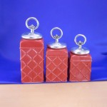 CERAMIC CANISTER SET ROPE RING RED W/ FDL SILVER LIDS