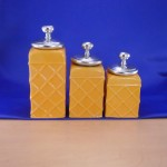 60002YL-PKNOB-SIL CERAMIC CANISTER SET ROPE YELLOW W/ PLAIN KNOB SILVER LIDS