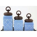 60002BLUE-RING-COP-CERAMIC CANISTER SET ROPE BLUE W/ RING COPPER LIDS