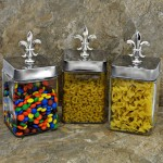"QG1006-SIL-3PC. JAR SET W/SILVER COVER/SILVER FDL TOP 4""X4""X9"""