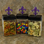 "QG1007PL-BK-3PC. JAR SET W/BLACK COVER/PURPLE STONE  FDL TOP 4""X4""X9"""