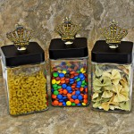 "QG1009AM-BK-3PC. JAR SET W/BLACK COVER/AMBER STONE CROWN TOP 4""X4""X8"""