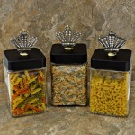 "QG1009CL-BK-3PC. JAR SET W/BLACK COVER/CLEAR STONE CROWN TOP 4""X4""X8"""