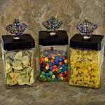 "QG1009MT-BK-3PC. JAR SET W/BLACK COVER/MULTI COLOR STONE CROWN TOP 4""X4""X8"""