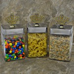 "QG1010AM-SIL-3PC. JAR SET W/SILVER COVER/AMBER STONE CROWN TOP 4""X4""X8"""