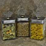 "QG1010CL-SIL-3PC. JAR SET W/SILVER COVER/CLEAR STONE CROWN TOP 4""X4""X8"""