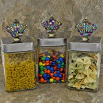 "QG1010MT-SIL-3PC. JAR SET W/SILVER COVER/MULTI COLOR STONE CROWN TOP 4""X4""X8"""