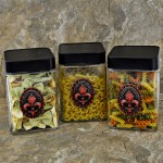 "QG1011RD-BK-3PC. JAR SET W/BLACK COVER/RED STONE FDL EMBLEM 4""X4""X6"""