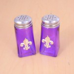 G60025PURPLE- PURPLE SQUARE SALT-PEPPER W/SILVER FDL