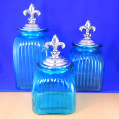 60004OCBLU-FDL-SIL LARGE SQUARE OCEAN BLUE CANISTER SET W/ SILVER FDL LIDS