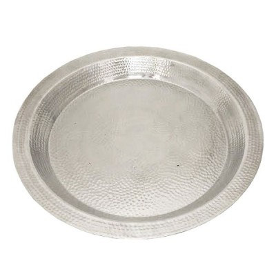 "180099- 25.5"" LARGE ROUND HAMMERED DESIGN TRAY"
