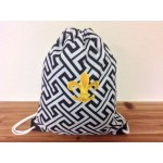 32629-BLACK GREEK KEY DESIGN W/GOLD FDL DRAWSTRING BACK PACK BAG