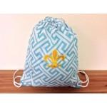 32631-AQUA GREEK KEY DESIGN W/GOLD FDL DRAWSTRING BACK PACK BAG