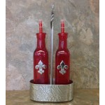 3563-ROUND HAMMERED OIL & VINEGAR BOTTLE HOLDER