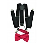 9001S/B-BLACK SUSPENDER BOW TIE SET (HOT PINK)