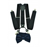 9001S/B-BLACK SUSPENDER BOW TIE SET (NAVY)