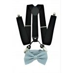 9001S/B-BLACK SUSPENDER BOW TIE SET (GRAY)