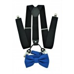 9001S/B-BLACK SUSPENDER BOW TIE SET (BLUE)